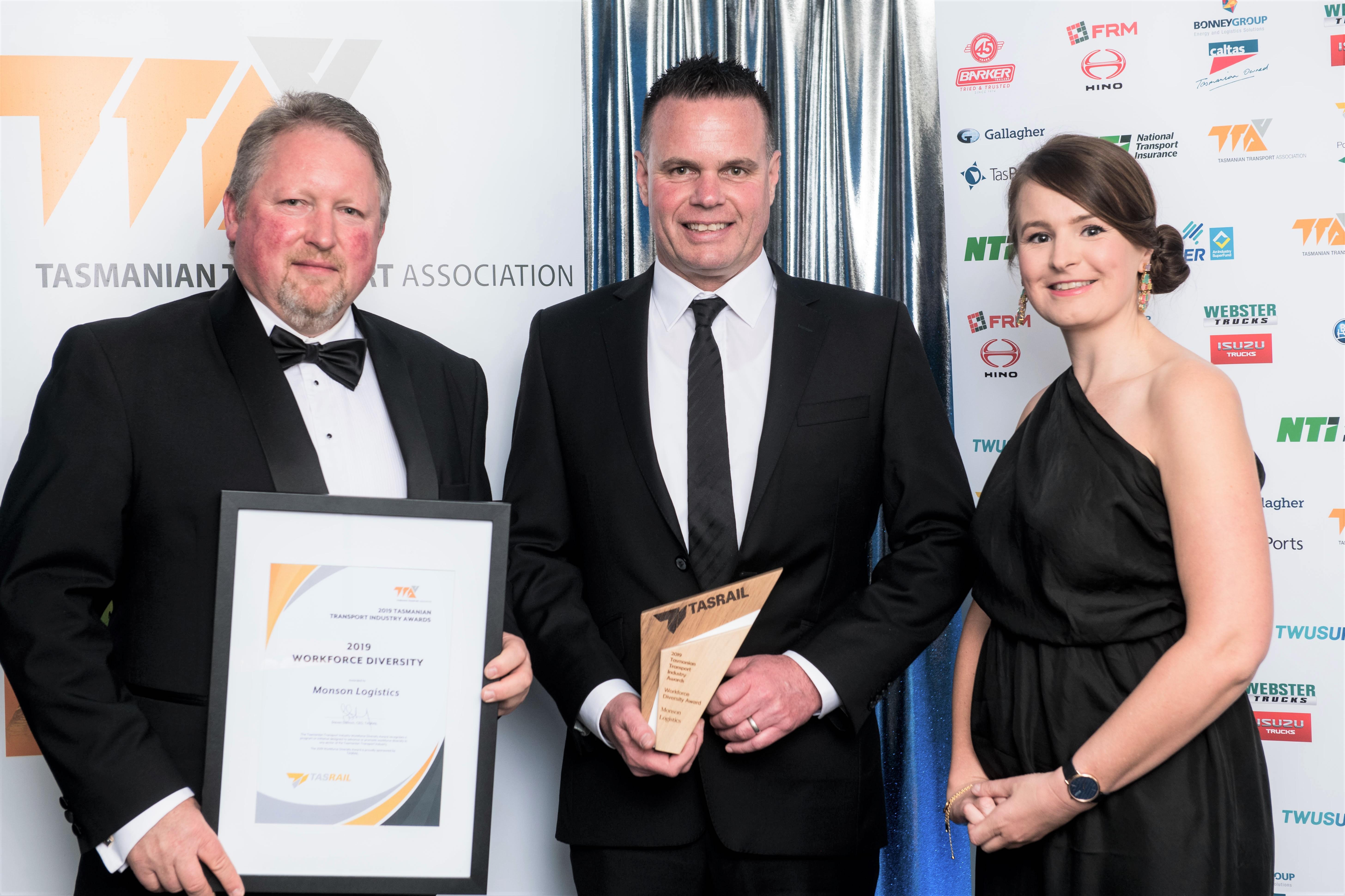 Steven Dietrich (TasRail), Darren Young (Monson Logistics) and Erin Mollinson (TasRail) present the 2019 TasRail Tasmanian Transport Industry Workforce Diversity Award to Monson Logistics