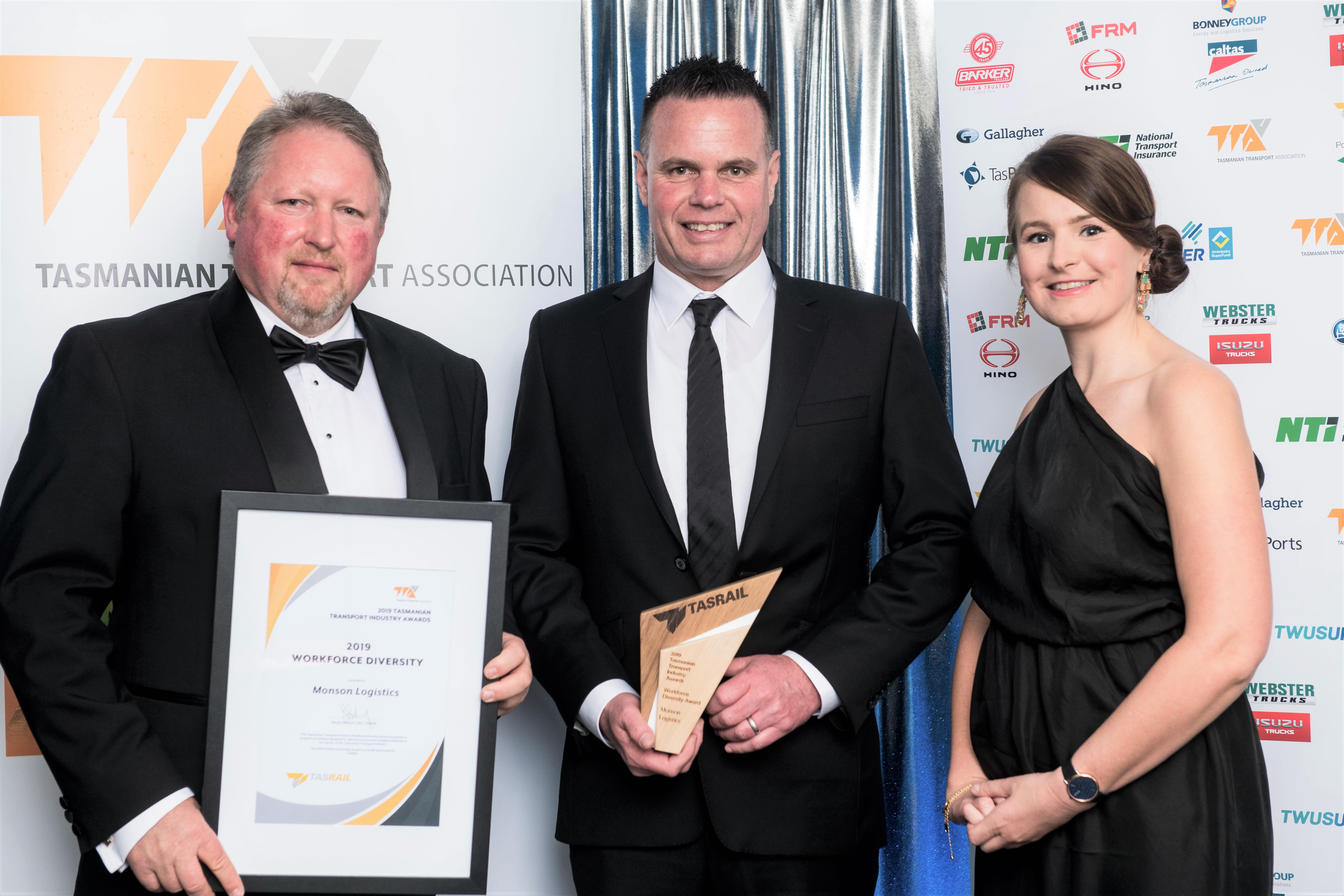 Steven Dietrich (TasRail), Darren Young (Monson Logistics) and Erin Mollinson (TasRail) present the 2019 TasRail Tasmanian Transport Industry Workforce Diversity Award to Monson Logistics